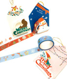 christmas boxed washi tape festive roll red blue snowman squirrel elf uk cute kawaii stationery 5m