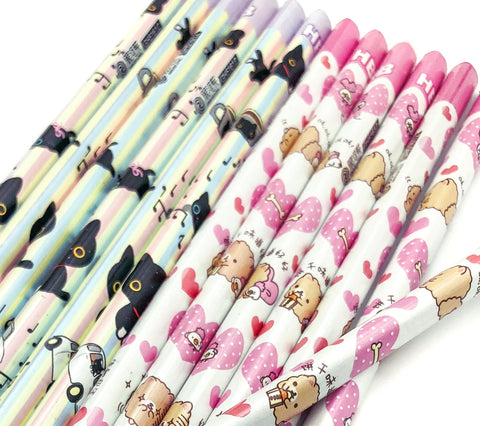 triangular hb pencil pencils kawaii cute cat cats black pink animal animals duck hamster uk stationery supplies