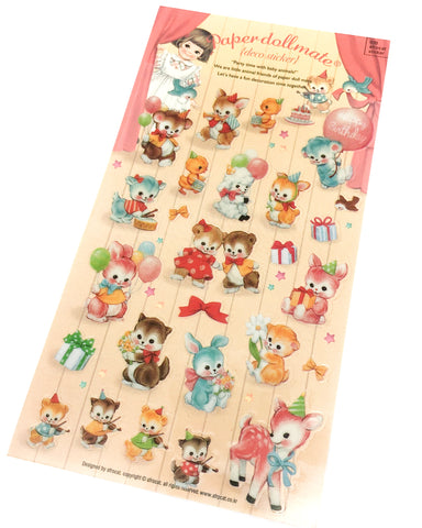 cute baby animals vintage retro style sticker stickers clear pvc rabbit cat deer duck bird