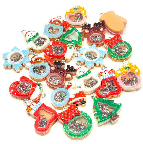 christmas shaker resin charm charms festive craft supplies uk cute kawaii glitter pendant