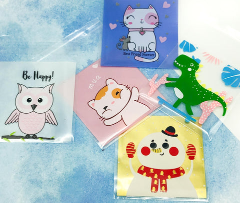 cellophane cello bags mini small packaging supplies snowman cat cats owl owls dinosaur dinosaurs cute kawaii packing supplies uk