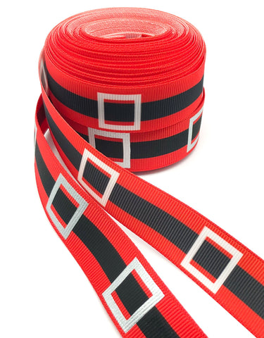 santa's belt foil red and silver grosgrain 22mm ribbon santa