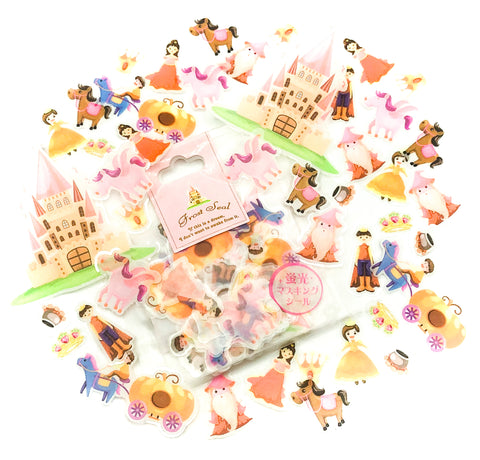 fairytale fairy story princess clear sticker flakes pack of 62 plastic stickers