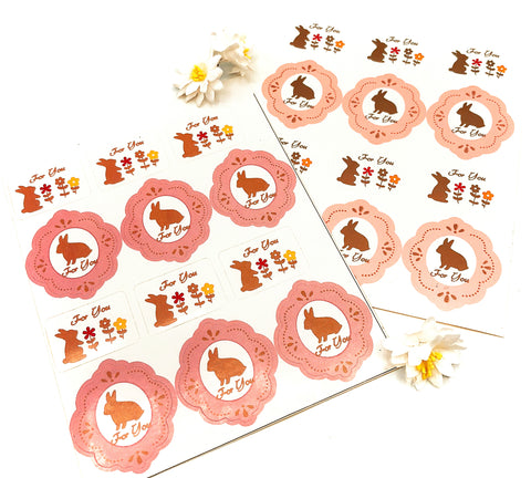 for you bunny rabbit stickers sheet of 12 sticker kawaii rabbits pink