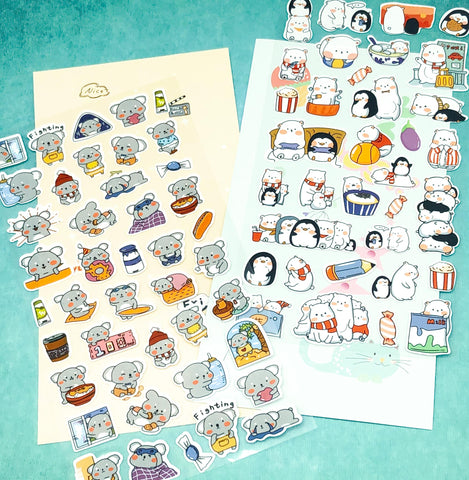 koala penguin polar bear bears flat clear plastic cute kawaii sticker stickers pack packs uk stationery penguins koalas