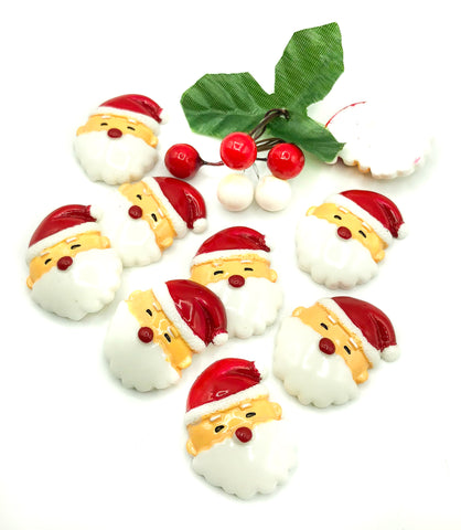 santa head resin fb flat back 32mm father christmas fbs