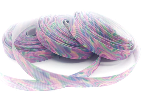 pastel marble marbled 10mm narrow grosgrain ribbon one yard