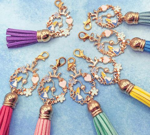 alice in wonderland tassel gold metal planner charm clip uk cute kawaii gifts planning supplies enamel rhinestone charms clips
