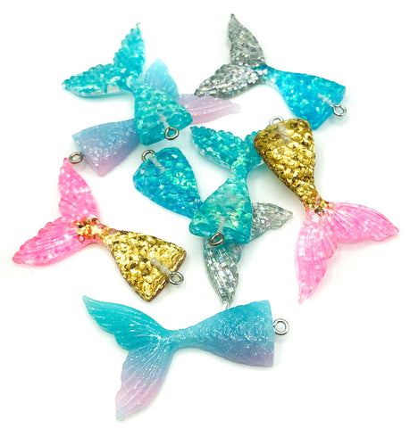 mermaid tail glitter resin charm pendant 48mm mermaids tails charms