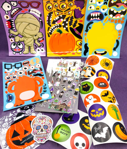 kid kids halloween sticker stickers bundle activity build your own character bundles sheets uk cute kawaii stationery