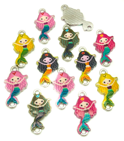 mermaid connector charm charms mermaids enamel connectors kawaii