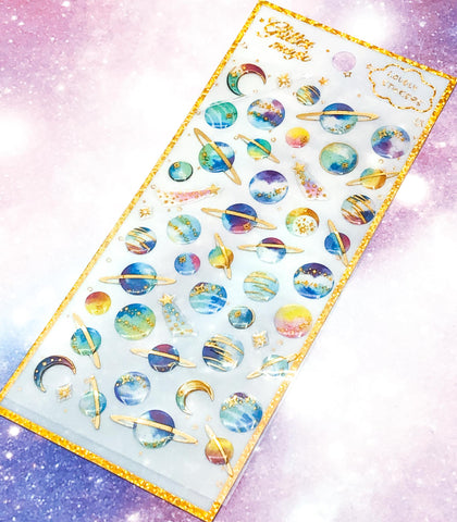 space planet planets shooting star stars puffy gold foil foiled crystal sticker stickers pack uk cute kawaii stationery foiled