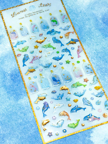 dolphin dolphins magic bottle bottles ocean theme puffy foil crystal sticker stickers pack sheet on clear uk cute kawaii stationery gold foiled foil