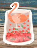 flamingo in jar of fruit cute teacup postcard post card cards uk kawaii stationery store pretty animal animals