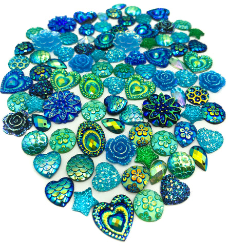 green blue teal and turquoise peacock coloured bundle of acrylic flatbacks fbs fb flat back bundles uk craft supplies kawaii cute colour themed colours