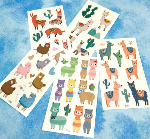 llama alpaca temporary tattoo tattoos sheet cute kawaii kids kid gift gifts stocking fillers uk alpacas llamas stickers