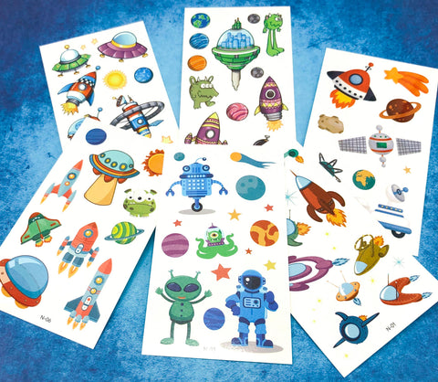 outer space alien aliens galaxy temporary tattoo tattoos sheet for kid kids child gift gifts stocking filler uk