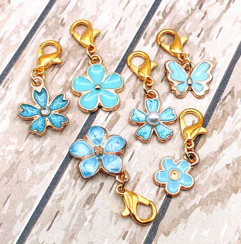 turquoise blue floral flower butterflies butterfly flowers planner charm clip stitch marker uk planning accessories gifts