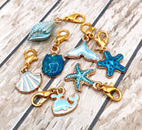 turquoise blue ocean planner clip charm charms shell shells mermaid tail starfish whale cute kawaii gifts uk gold tone stitch marker markers