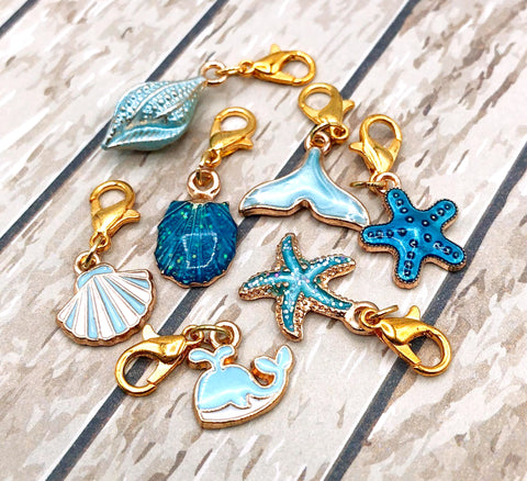 turquoise blue ocean planner clip charm charms shell shells mermaid tail starfish whale cute kawaii gifts uk gold tone