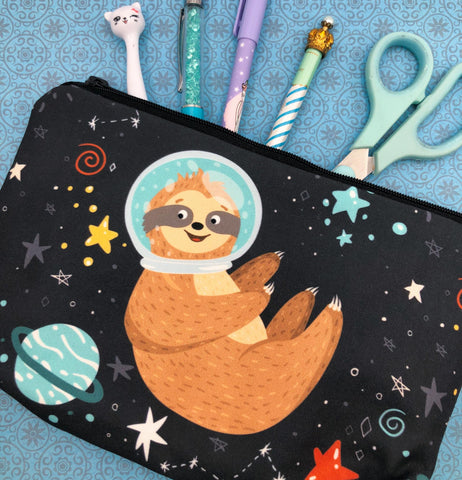 space spaceman man sloth sloths cute kawaii pencil case cosmetic bag uk gift gifts bags cases pouch astronaut