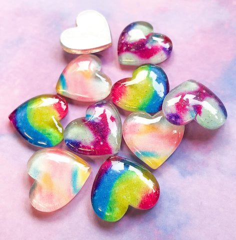 chunky glitter resin heart hearts fb flatbck flat back embellishment 26mm ombre galaxy rainbow stripe uk cute kawaii craft supplies
