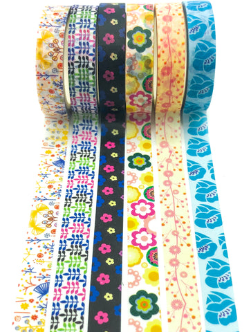 floral 8mm wide narrow washi tape tapes flowers retro spring stationery supplies uk kawaii cute