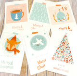 retro vintage style christmas postcard postcards post card cards uk cute kawaii stationery gifts bundle bundles fox snow globe tree bear
