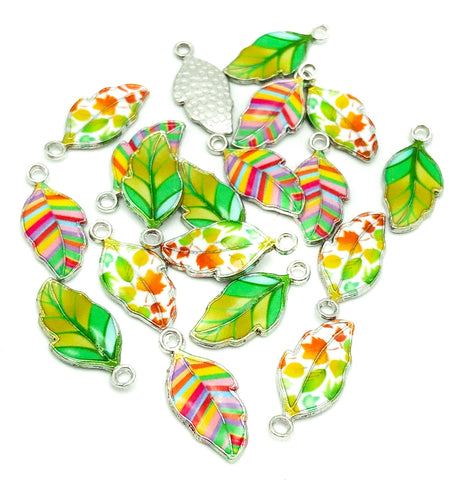 leaf charm charms silver tone metal enamel green rainbow autumn leaves uk craft supplies