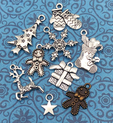 christmas festive tibetan silver charm charms bundle antique bronze tone metal uk cute kawaii craft supplies gingerbread man tree deer snowflake