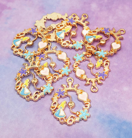 alice in wonderland hoop ornate gold tone charm pendant charms ring circle heart flower large pendants uk cute kawaii craft supplies
