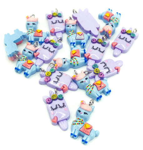 lilac unicorn lolly charm cute llama alpaca blue charm kawaii charms resin uk craft supplies