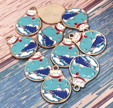 polar bear snow globe charm charms pendant gold tone metal festive globes snowglobe winter blue turquoise uk cute kawaii craft supplies charms
