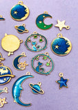 galaxy enamel enamelled cat moon star planet stars gold tone charms cats cute uk craft supplies blue green