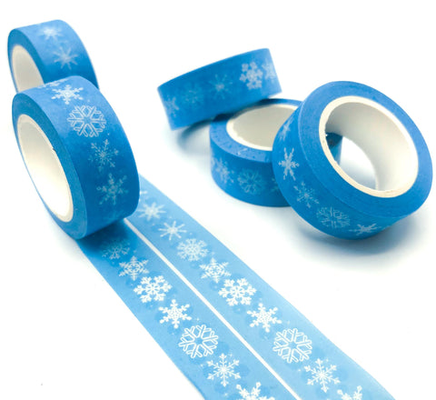 white snowflakes snowflake on light pale blue 10m washi tape christmas snow flake flakes uk cute kawaii tapes stationery