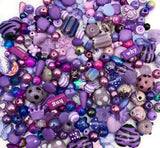 purple bead beads bundle of 40 lilac mauve glass acrylic plastic cute bundles uk craft supplies