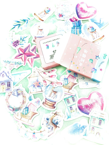 festive sticker flake flakes box of 46 stickers uk cute stationery kawaii planner supplies Christmas pink blue pastel