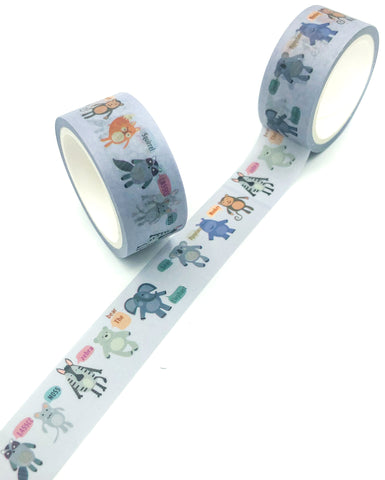 wild cute animals 5m washi tape on pale grey hippo squirrel bear koala zebra monkey mice elephant uk stationery