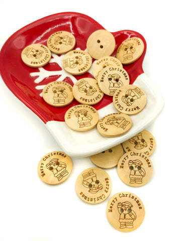 natural wood button festive 20mm Merry Christmas Santa wooden buttons