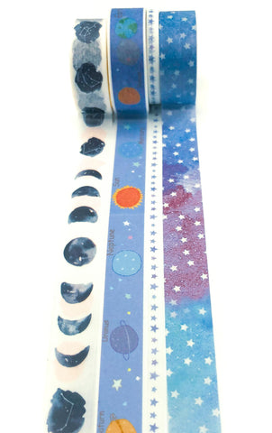 planets and space galaxy constellations stars moon washi tape bundle of 4 cute kawaii stationery bundles blue purple