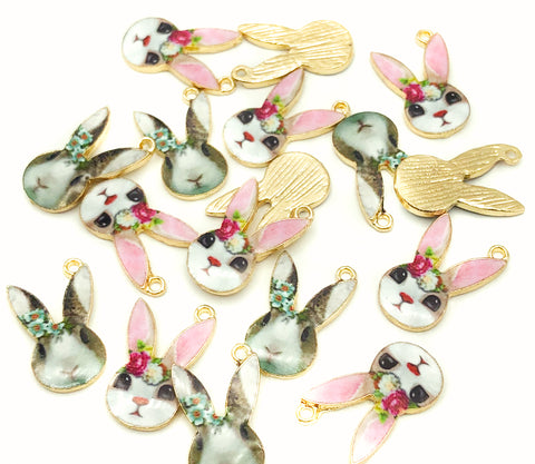 spring bunny kawaii rabbit gold tone enamel charm charms bunnies pink grey flowers
