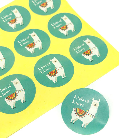llama sticker alpaca stickers llots of llove love round 35mm turquoise thank you stationery uk