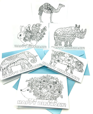 colour in animal cards individual colouring happy birthday card pig elephant rabbit hedgehog rhino camel uk
