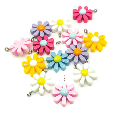 daisy flower resin charm silver tone acrylic flowers charms uk craft supplies daisies kawaii