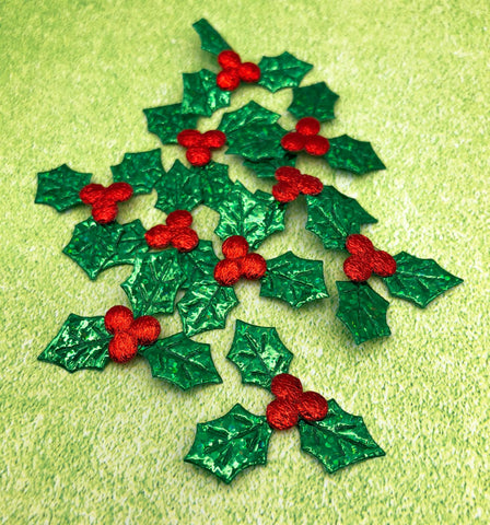 holly glitter applique appliques leaf leaves green and red christmas glittery patches sew or glue on uk festive craft supplies