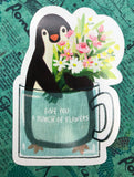 cute penguin and pink flowers in mug cute teacup postcard post card cards uk kawaii stationery store pretty animal animals