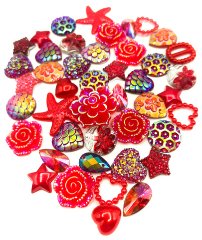 red shades coloured  sparkly shimmery pearly fb flat back bundle of embellishments fbs flatback  uk kawaii craft bundles