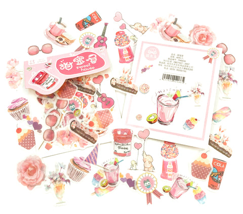 pink sweet house treats sweets cake cakes translucent sticker flake flakes pack of 40 uk cute stationery stickers
