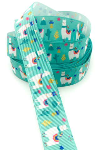 turquoise 22mm grosgrain llama alpaca ribbon one yard llamas