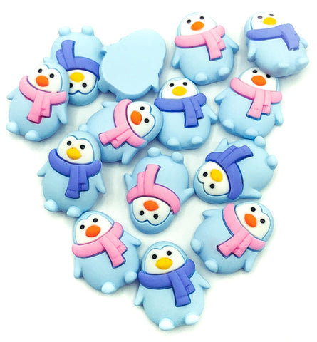 cute penguin resin flatback flat back fb fbs pink or blue scarf winter penguins uk kawaii craft supplies embellishments